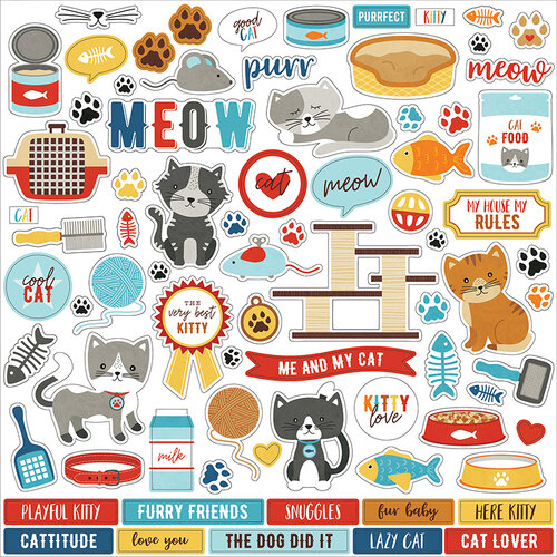 Echo Park - I Love My Cat Collection - 12 x 12 Cardstock Stickers - Elements