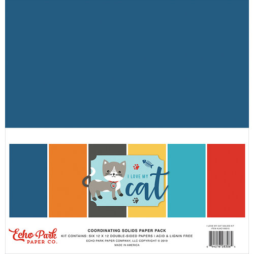 Echo Park - I Love My Cat Collection - 12 x 12 Paper Pack - Solids