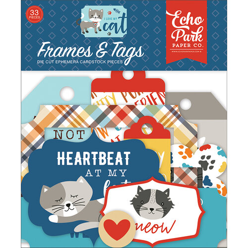 Echo Park - I Love My Cat Collection - Ephemera - Frames and Tags