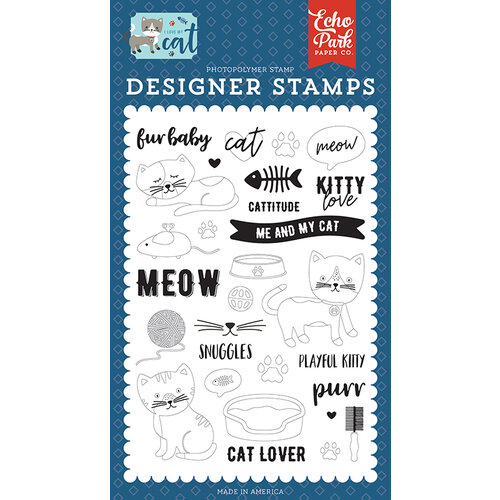 Echo Park - I Love My Cat Collection - Clear Photopolymer Stamps - Kitty Love