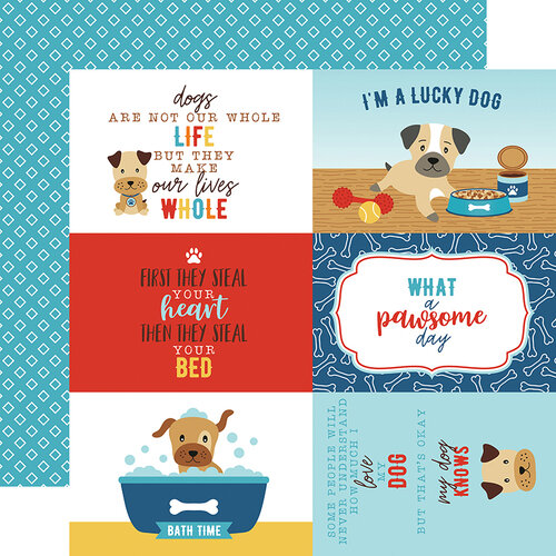Echo Park - I Love My Dog Collection - 12 x 12 Double Sided Paper - 4 x 6 Journaling Cards