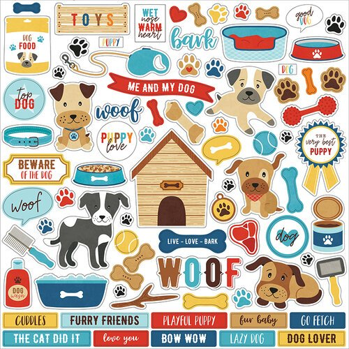 Echo Park - I Love My Dog Collection - 12 x 12 Cardstock Stickers - Elements