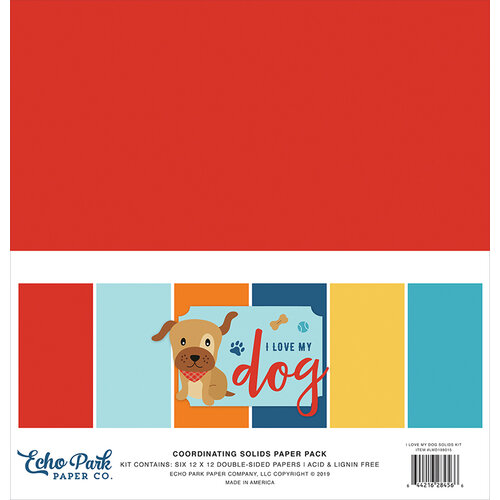 Echo Park - I Love My Dog Collection - 12 x 12 Paper Pack - Solids