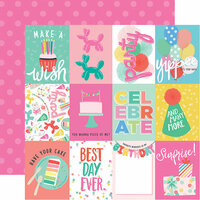 Echo Park - Let's Party Collection - 12 x 12 Double Sided Paper - 3 x 4 Journaling Cards