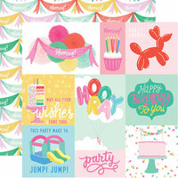 Echo Park - Let's Party Collection - 12 x 12 Double Sided Paper - Journaling Cards