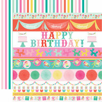 Echo Park - Let's Party Collection - 12 x 12 Double Sided Paper - Border Strips