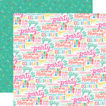 Echo Park - Let's Party Collection - 12 x 12 Double Sided Paper - Hooray Words
