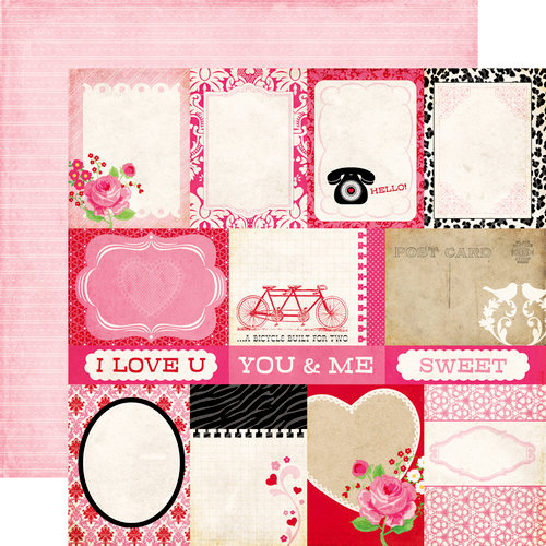 Echo Park - Love Story Collection - 12 x 12 Double Sided Paper - Journaling Cards