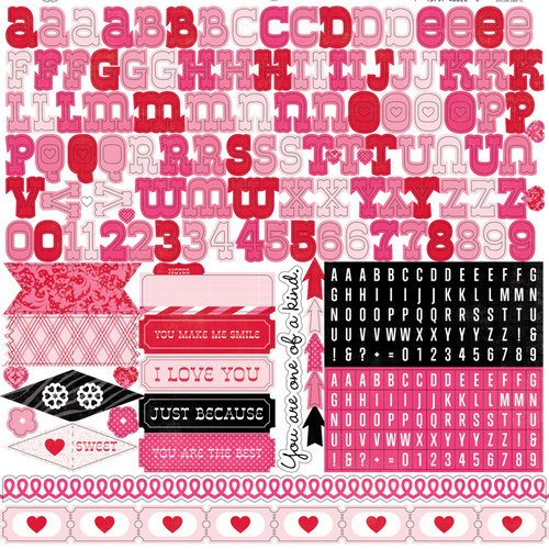Echo Park - Love Story Collection - 12 x 12 Cardstock Stickers - Alphabet