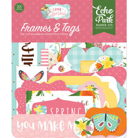 Echo Park - I Love Spring Collection - Ephemera - Frames and Tags