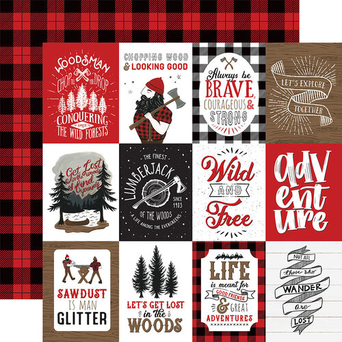 Echo Park - Let's Lumberjack Collection - 12 x 12 Double Sided Paper - 3 x 4 Journaling Cards