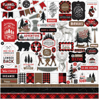 Echo Park - Let's Lumberjack Collection - 12 x 12 Cardstock Stickers - Elements