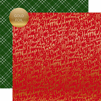 Echo Park - Merry and Bright Collection - Christmas - 12 x 12 Double Sided Paper with Foil Accents - Jolly Words