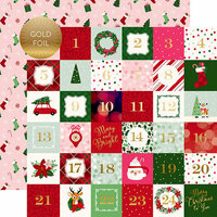 Echo Park - Merry and Bright Collection - Christmas - 12 x 12 Double Sided Paper with Foil Accents - 2 x 2 Journaling Cards