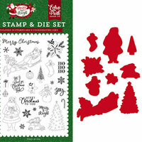 Echo Park - Merry and Bright Collection - Christmas - Designer Die and Clear Acrylic Stamp Set - Merry Christmas To You