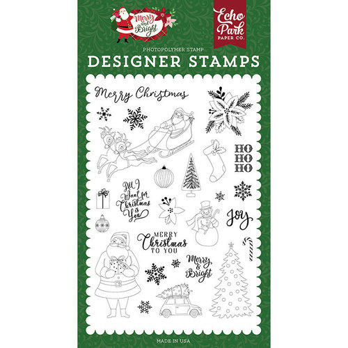 Echo Park - Merry and Bright Collection - Christmas - Clear Photopolymer Stamps - Merry Christmas To You