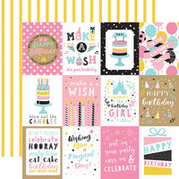 Echo Park - Magical Birthday Girl Collection - 12 x 12 Double Sided Paper - 3 x 4 Journaling Cards