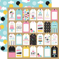 Echo Park - Magical Birthday Girl Collection - 12 x 12 Double Sided Paper - Gift Tags