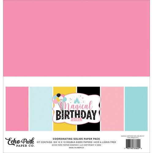 Echo Park - Magical Birthday Girl Collection - 12 x 12 Paper Packs - Solids