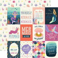 Echo Park - Mermaid Dreams Collection - 12 x 12 Double Sided Paper - 3 x 4 Journaling Cards