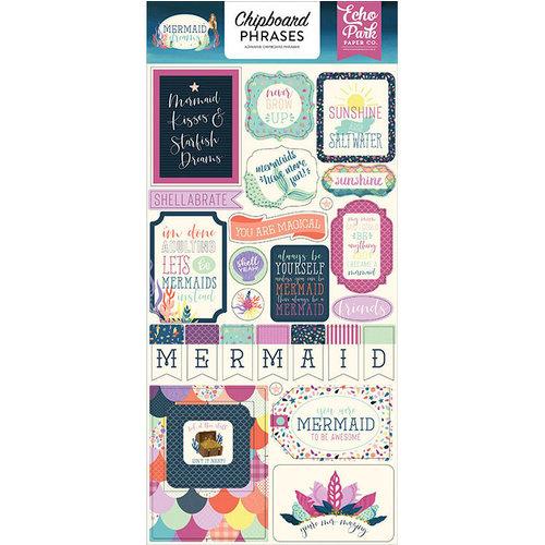 Echo Park - Mermaid Dreams Collection - Chipboard Stickers - Phrases