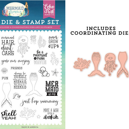 Echo Park - Mermaid Dreams Collection - Designer Dies and Clear Photopolymer Stamp Set - Be A Mermaid