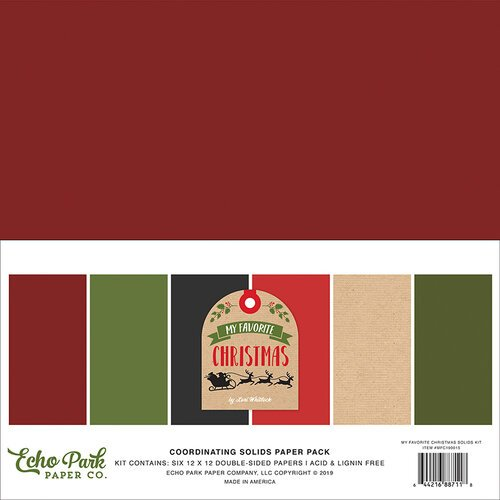 Echo Park - My Favorite Christmas Collection - 12 x 12 Solids Paper Pack