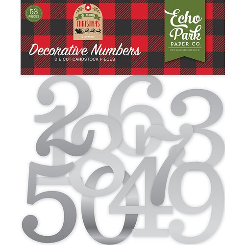 Echo Park - My Favorite Christmas Collection - Silver Foil Decorative Numbers