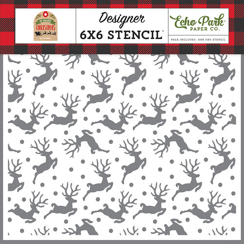 Echo Park - My Favorite Christmas Collection - 6 x 6 Stencil - Flying Reindeer