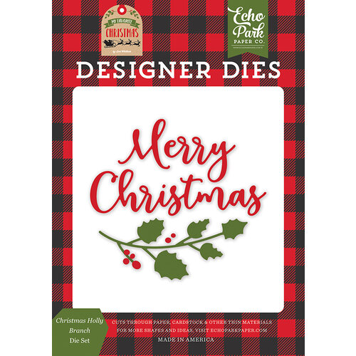 Echo Park - My Favorite Christmas Collection - Designer Dies - Christmas Holly Branch