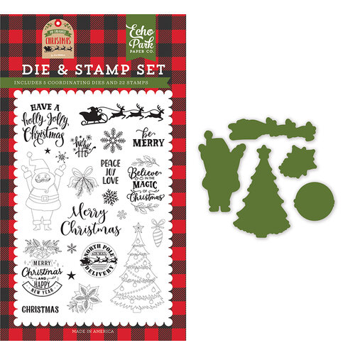 Echo Park - My Favorite Christmas Collection - Designer Die and Clear Photopolymer Stamp Set - Be Merry