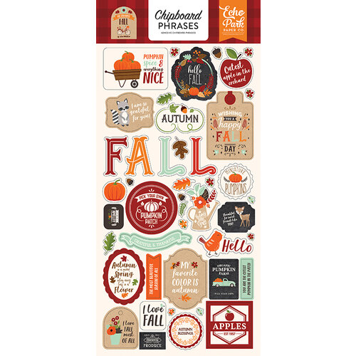 Echo Park - My Favorite Fall Collection - Chipboard Stickers - Phrases