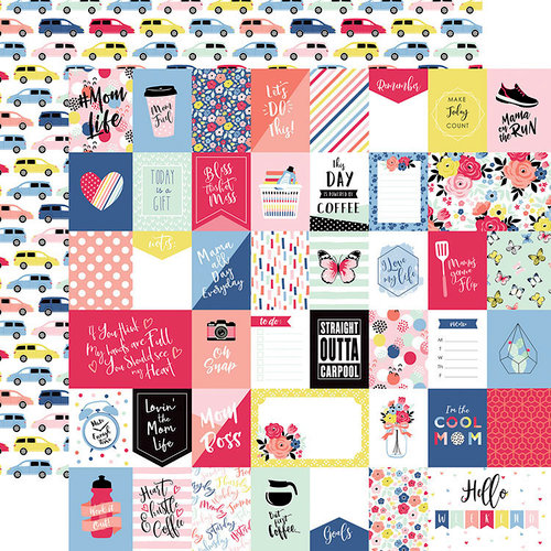 Echo Park - I am Mom Collection - 12 x 12 Double Sided Paper - Multi Journaling Cards