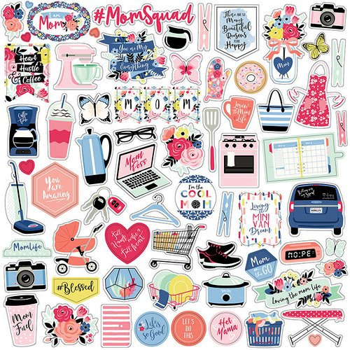 Echo Park - I am Mom Collection - 12 x 12 Cardstock Stickers - Elements