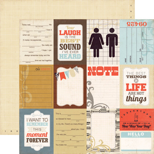 Echo Park - Note to Self Collection - 12 x 12 Double Sided Paper - Journaling Cards