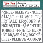 Echo Park - Once Upon A Time Collection - Prince - 6 x 6 Stencil - Noble Knight Word