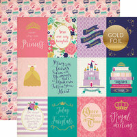 Echo Park - Once Upon A Time Collection - Princess - 12 x 12 Double Sided Paper with Foil Accents - 3 x 4 Journaling Cards