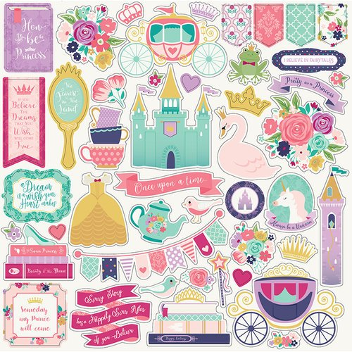 Echo Park - Once Upon A Time Collection - Princess - 12 x 12 Cardstock Stickers - Elements