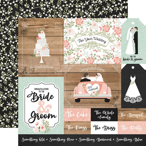 Echo Park - Our Wedding Collection - 12 x 12 Double Sided Paper - Multi Journaling Cards