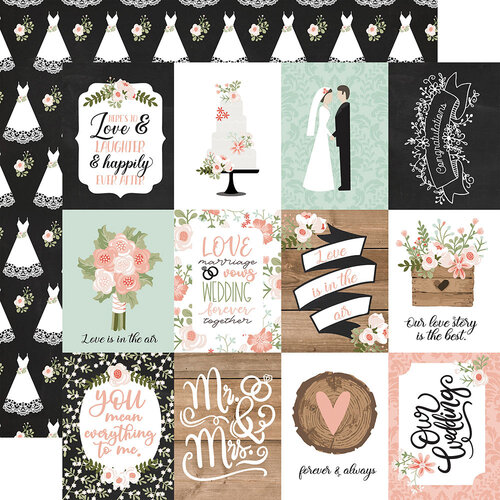 Echo Park - Our Wedding Collection - 12 x 12 Double Sided Paper - 3 x 4 Journaling Cards