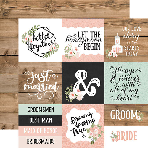 Echo Park - Our Wedding Collection - 12 x 12 Double Sided Paper - 4 x 4 Journaling Cards