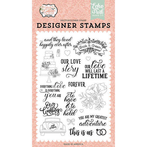 Echo Park - Our Wedding Collection - Clear Photopolymer Stamps - Our Love Story