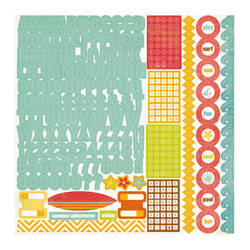 Echo Park - Paradise Beach Collection - 12 x 12 Cardstock Stickers - Alphabet