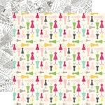 Echo Park - Petticoats and Pinstripes Collection - Girl - 12 x 12 Double Sided Paper - Darling Dresses