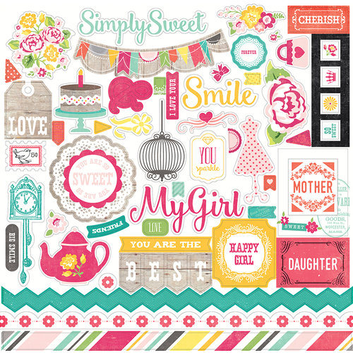 Echo Park - Petticoats and Pinstripes Collection - Girl - 12 x 12 Cardstock Stickers - Elements
