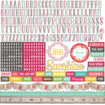 Echo Park - Petticoats and Pinstripes Collection - Girl - 12 x 12 Cardstock Stickers - Alphabet