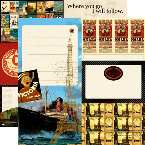 Echo Park - Graphic 45 - Transatlantique Collection - 12 x 12 Double Sided Paper - All Aboard