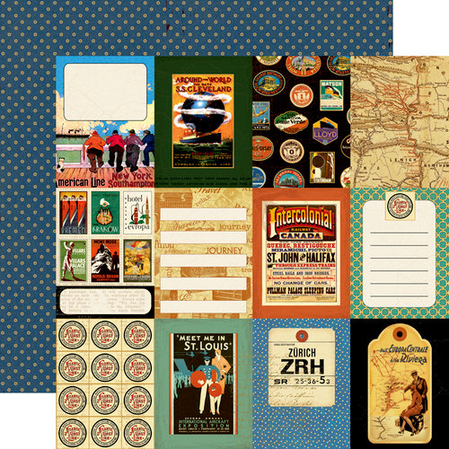 Echo Park - Graphic 45 - Transatlantique Collection - 12 x 12 Double Sided Paper - World Traveler
