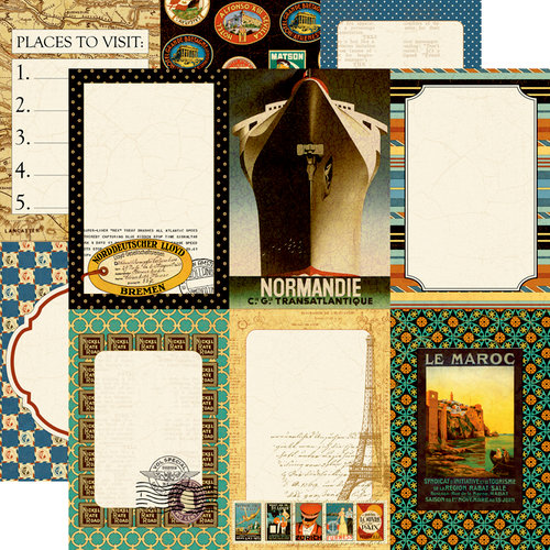 Echo Park - Graphic 45 - Transatlantique Collection - 12 x 12 Double Sided Paper - Suitcase