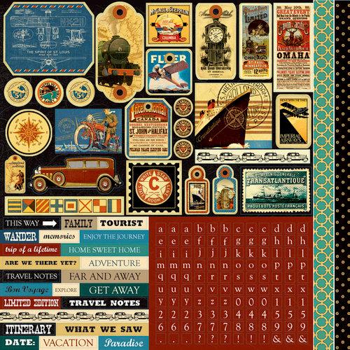 Echo Park - Graphic 45 - Transatlantique Collection - 12 x 12 Cardstock Stickers - Elements